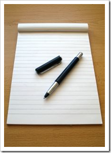 parker pen and notepaper