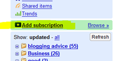google reader - add subscription