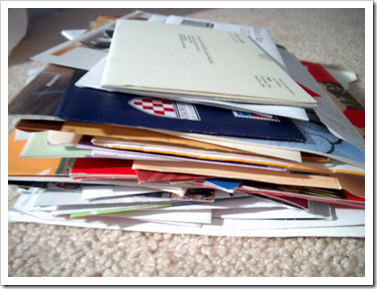 three weeks worth of mail
