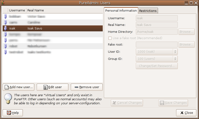 Linux FTP Server with a Graphical User Interface (GUI